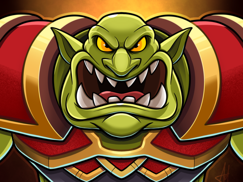 Green Orc vector digital art character cartoon character design goblins profile illustration drawing fantasy hearthstone warcraftft warcraftft goblin orc