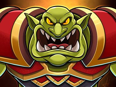Green Orc vector digital art character cartoon character design goblins profile illustration drawing fantasy hearthstone warcraftft warcraftft goblin orc