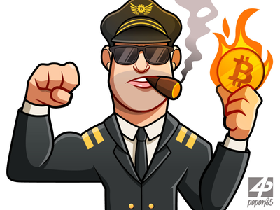 Character design - Vector art man cool muscle airport plane bitcoin coin fire character design pilot