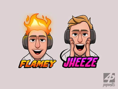 Flamey Jheeze digital art streamer gamer character design expression jheeze flame drawing twitch emotes