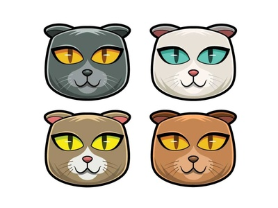 Cat Variation profile logo vector mascot design illustration mascot digital art character character design drawing cartoon cat
