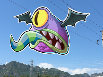 Flying cartoon monster drawing character