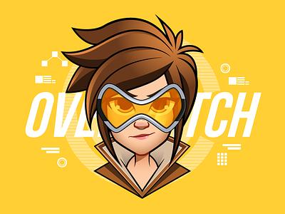 Overwatch - Tracer digital art character design vector illustrator girls profile avatar illustration tracer dva overwatch