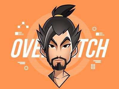 Overwatch - Hanzo digital art character design vector illustrator girls profile avatar illustration tracer hanzo overwatch
