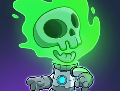 Skull Space - Full Colors twitch video game mascot design illustration mascot digital art cartoon character character design drawing