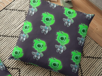 Skull Space - Floor Pillow gaming vector illustration shopping sale store redbubble tshirt pillow shop digital art character cartoon character design drawing