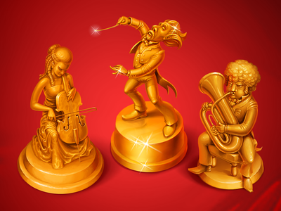 Golden orchestra icons game art mobile games illustration