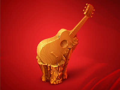 Wooden Guitar icon game art illustration music game object