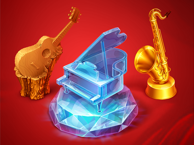 Diamond Piano icon game art illustration music game object