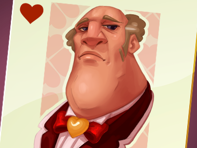 King Of Hearts character design catrooning sketch game art