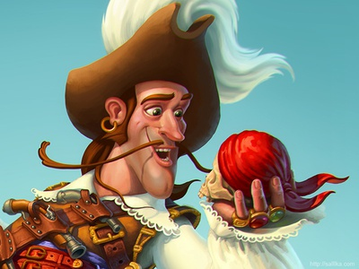 Pirate illustration game art catrooning character design