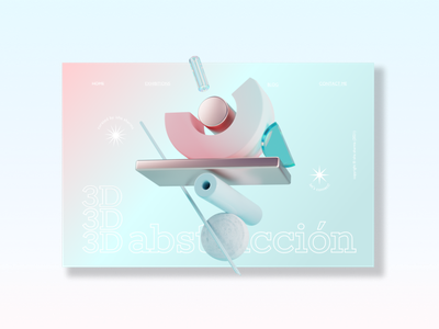 3D Abstracción uidesign gradient 3d modeling minimal web website design mockup ux ui adobexd vector typography illustration design