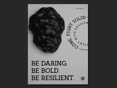 Be Daring. Be Bold. Be Resilient. logo poster 3d modeling blender render blender3d blender 3d branding adobexd vector typography graphic design illustration design