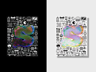 Stylizing S lettering bubble prism poster blender shader iridescent blender render 3d adobexd vector typography graphic design illustration design