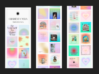 Gradient Canva templates pack - OUT SOON on Etsy social media templates instagram instagram templates templates canva templates canva branding adobexd vector typography graphic design illustration design