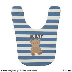 Baby Bib baby shower design zazzle teddybear teddy name personalizedname blue boy cute bibs bib babies baby