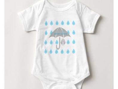 Rain rain go away baby one piece umbrella raindrops rain cute baby shower babies baby zazzle