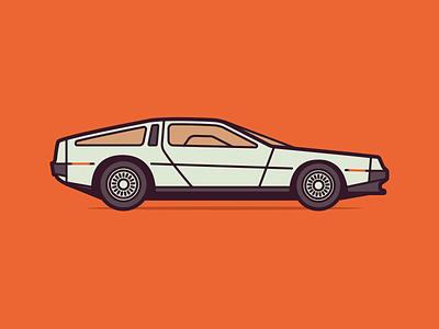 Delorean DMC 12 negativebear orange illustration cubhaus retro autoart auto car 80s 1980 back to the future delorean