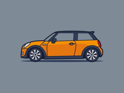 Mini Cooper S cubhaus illustration automobile car summer yellow cooper mini