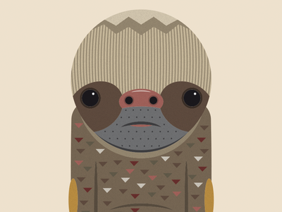 Sloth redbubble graphic design character illustration odd nerd geek grumpy old man wildlife animals negativebear cubhaus sloth