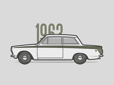 Lotus Cortina illustration negativebear 1960s automobile car lotus cortina
