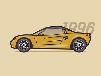 Lotus Elise negativebear 90s yellow illustration car lotus elise lotus
