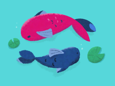 Couple of fishes in a pond leaf lotus blue pink painting procreate pond swim couple fish