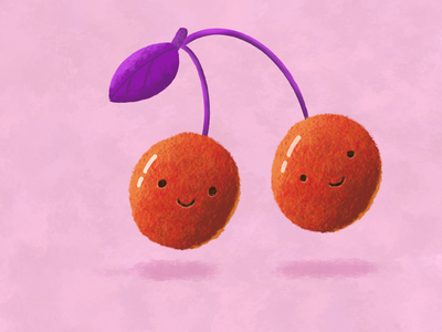 Cherries sketchy brushes drawing procreate red cherry