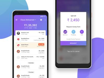 Split bill concept split banking android pixel2 concept app bank