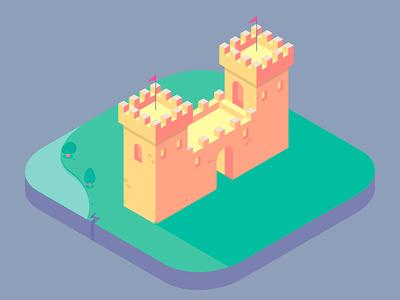 Castle castle art isometric illustrator