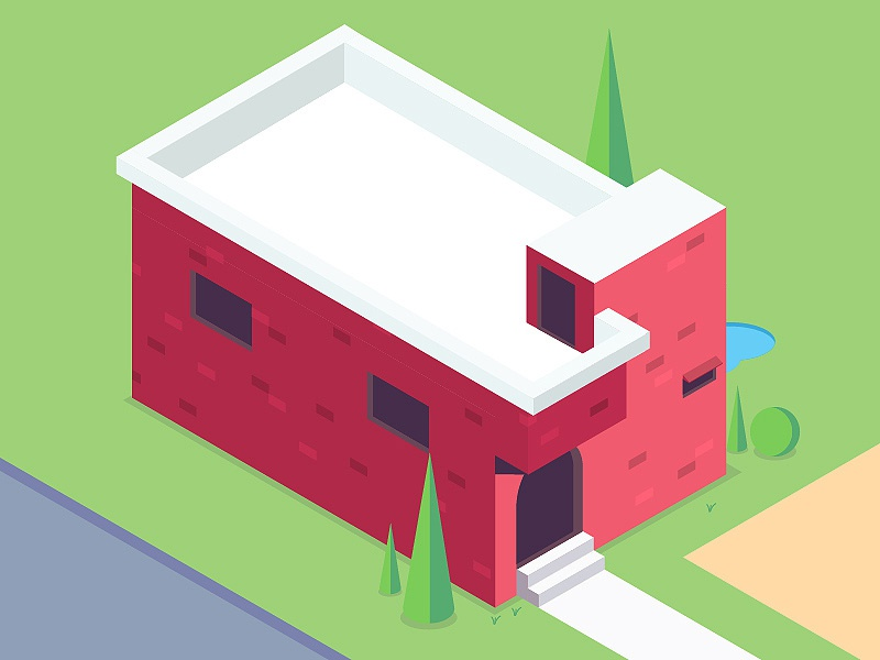 Home Sweet Home red house art isometric illustrator