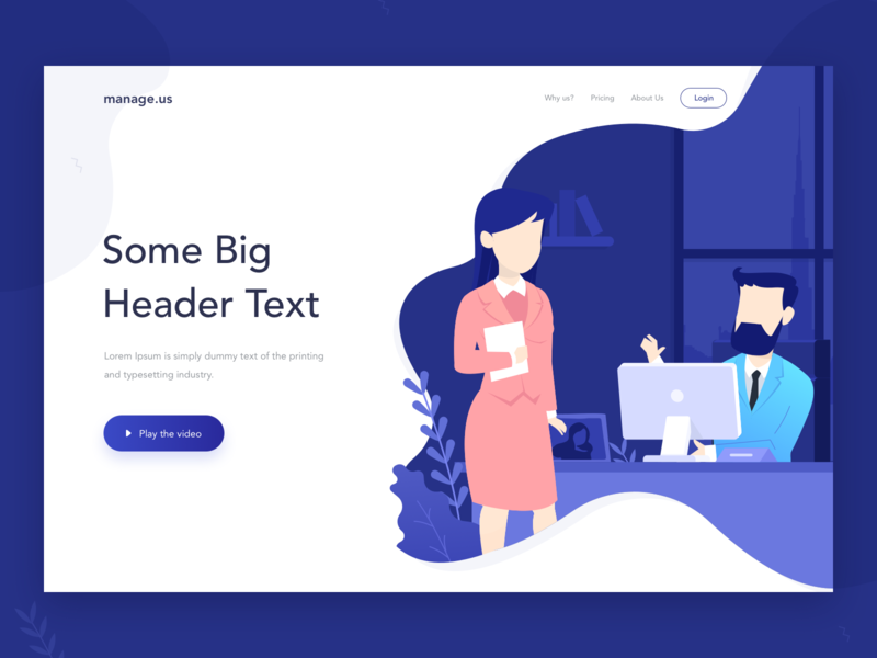 Exploration webdesign minimal interaction blue website management illustration design concept