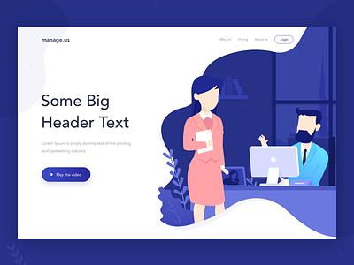 Exploration webdesign minimal interaction blue website management illustration design concept