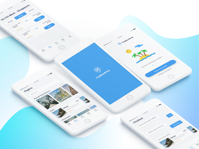 TripBooking UI kit - freebie freebie chatbot flight hotel modern travel app ui uikit