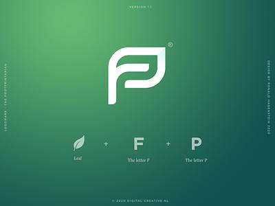 Footprintarian footprintarian p logo f logo fp logo gradient green logo design graphic design leaf logo footprints sustainable eco leaf footprint