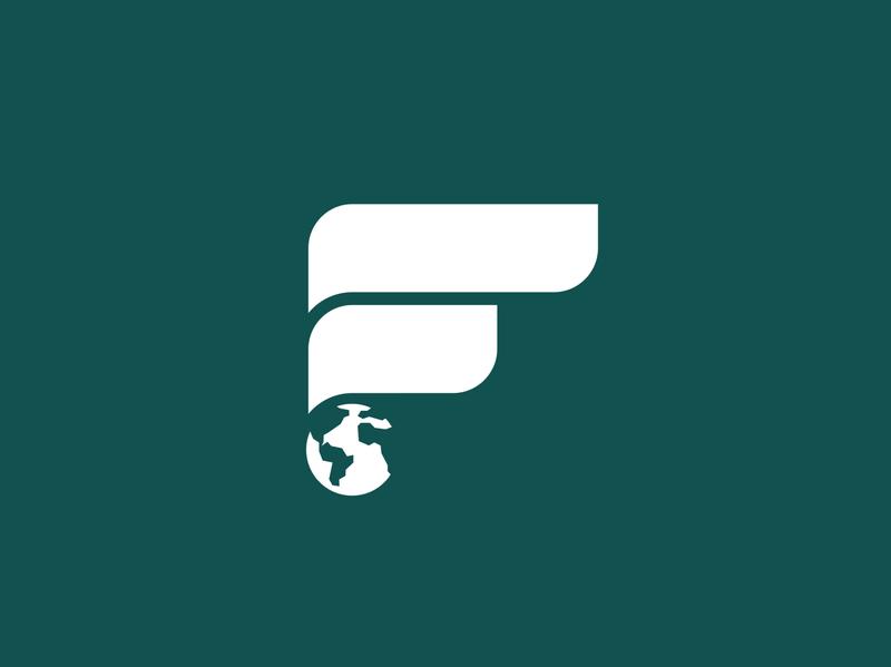 F logo (foundation) flat rotterdam logo design health sustainable world f green earth globe foundation f logo