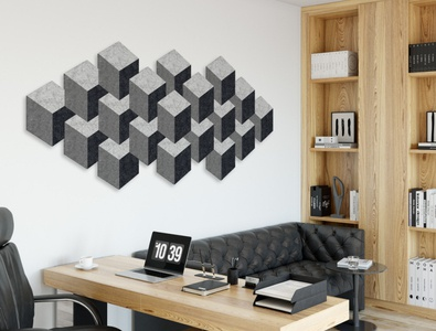 Sustainawalls - Cubes sustainable recycling cubes mural wall office art recycled art sustainability