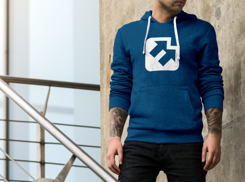 E + ⬆⬆ (Expert Up Sweater) logos branding clothing arrows expert up mockup hoody sweater e logo