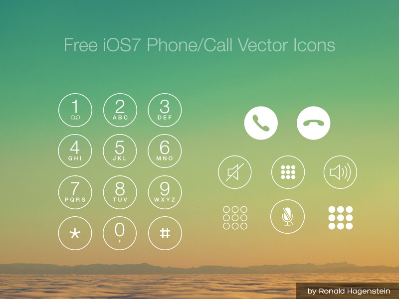 Free iOS7 Phone/Call Vector Icons free ui kit ios iphone vector icons call phone mute numbers freebie