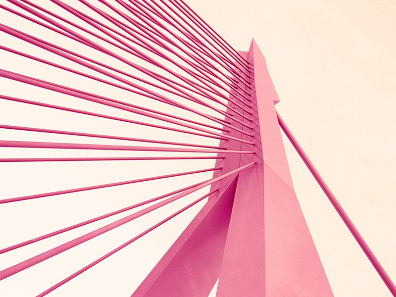 Bridge of Rotterdam (3D render) cinema 4d erasmus bridge rotterdam architect building red two-tone graphic