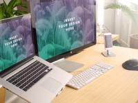 hd - Bamboo Desk Mockup Screens