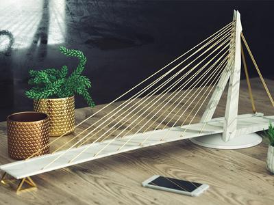 'Marble & Gold' Bridge of Rotterdam render gold marble netherlands bridge erasmus erasmusburg rotterdam