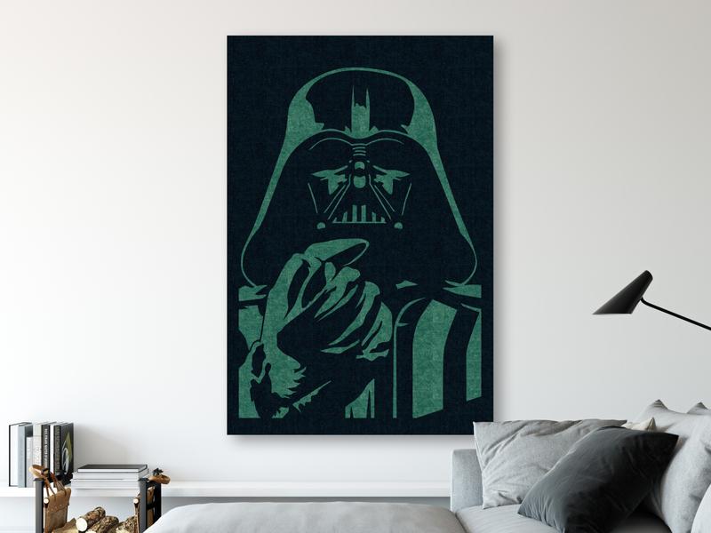 Darth Art star wars darth vader green felt wallart art