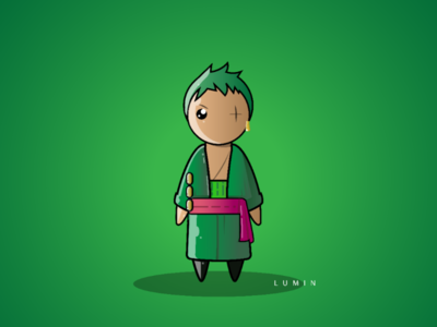 Roronoa Zoa illustrator japan fighter swords swordsman illustration art chibi manga anime onepiece zoro roronoazoro