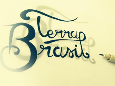 Terra Brasil script identity logo sketch