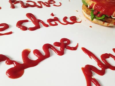 Chicken burger, ketchup lettering script branding visual food food