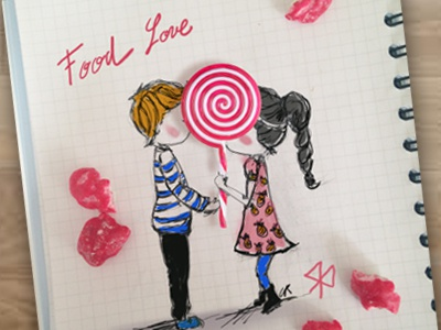 Food love food draw love valentines day