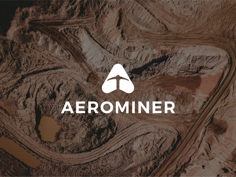 Aerominer flat logo flat  design flatdesign simplistic simple logo simple icon mining design branding logo
