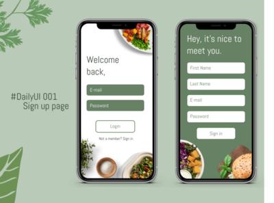 DailyUI#001 - Sign up page daily ui 001 daily ui challenge app designer app design ux ui challenge signup signing digital recipes app login page food app ui food apps figma beginner dailyui