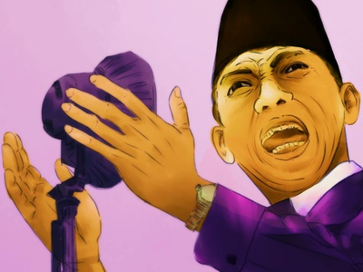 President Soekarno vibrant color popart digitalart digitalpainting indonesia president hero photoshop illustrator potrait illustration
